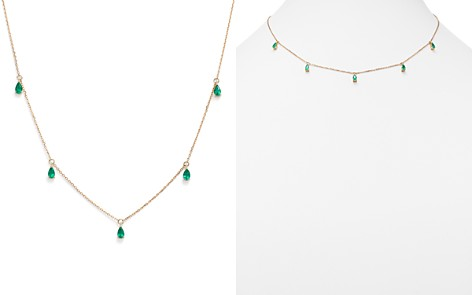 "Bloomingdale's Emerald Teardrop Charm Necklace in 14K Yellow Gold, 17"" - 100% Exclusive _2"