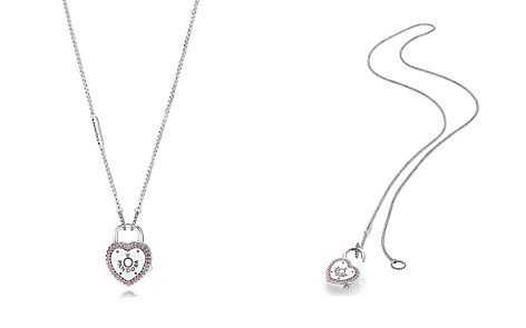"PANDORA Sterling Silver & Cubic Zirconia Lock Your Promise Heart Padlock Pendant Necklace, 23.6"" - Bloomingdale's_2"
