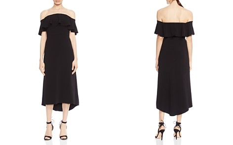 HALSTON HERITAGE Off-the-Shoulder Ruffled Crepe Midi Dress - Bloomingdale's_2