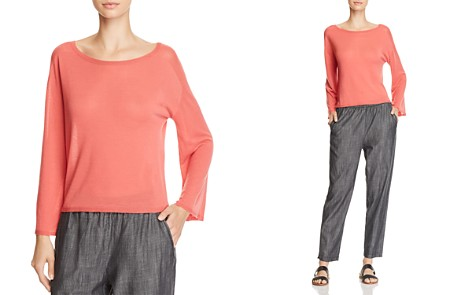 Eileen Fisher Petites Bateau Flared-Sleeve Boat-Neck Top - Bloomingdale's_2
