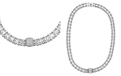 "LAGOS Sterling Silver Caviar Spark Diamond Station Collar Necklace, 18"" - Bloomingdale's_2"
