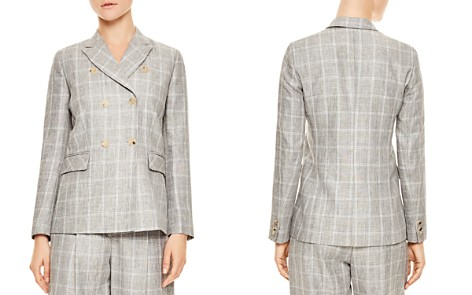 Sandro Iveline Double-Breasted Plaid Blazer - Bloomingdale's_2