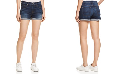 7 For All Mankind Roll Cuff Denim Shorts in Midnight Rain - Bloomingdale's_2