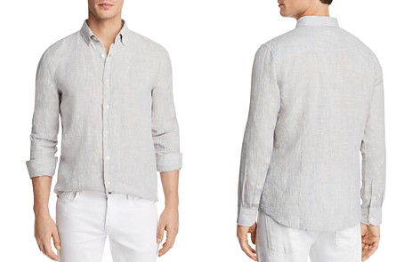The Men's Store at Bloomingdale's Striped Linen Regular Fit Button-Down Shirt - 100% Exclusive _2