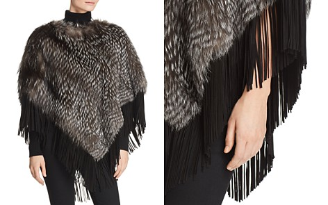 Maximilian Furs Suede-Trim Silver Fox Fur Poncho - 100% Exclusive - Bloomingdale's_2