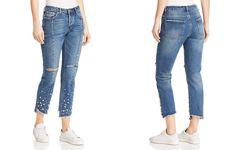 Sunset + Spring Embellished Distressed Straight-Leg Jeans in Denim - 100% Exclusive - Bloomingdale's_2