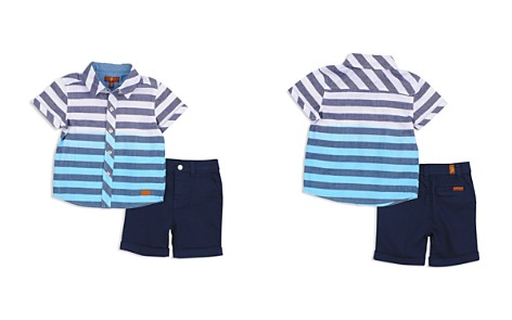 7 For All Mankind Boys' Striped Dip-Dye Shirt & Twill Shorts Set - Baby - Bloomingdale's_2
