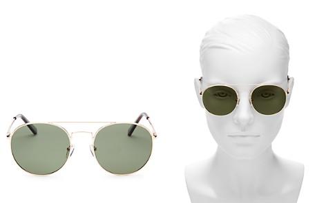 Le Specs Revolution Polarized Brow Bar Aviator Sunglasses, 54mm - Bloomingdale's_2