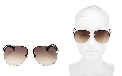 kate spade new york Jakayla Brow Bar Rimless Aviator Sunglasses, 62mm - Bloomingdale's_2