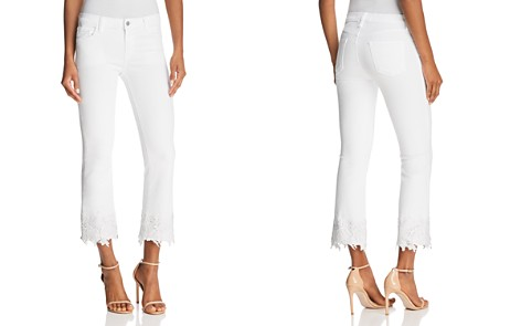 J Brand Selena Mid Rise Crop Boot Jeans in White Lace - Bloomingdale's_2