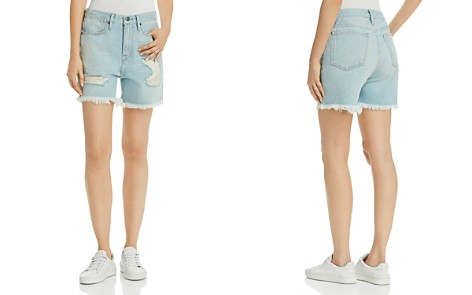 FRAME Le Stevie Distressed Denim Shorts in Henley - Bloomingdale's_2