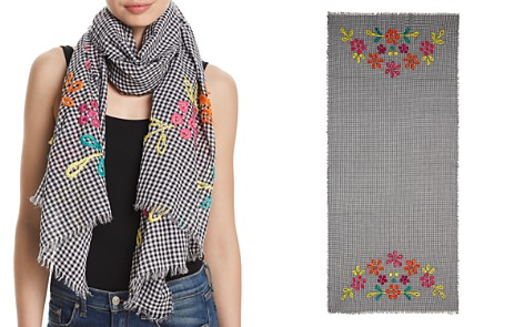 Fraas Embroidered Gingham Oblong Scarf - Bloomingdale's_2