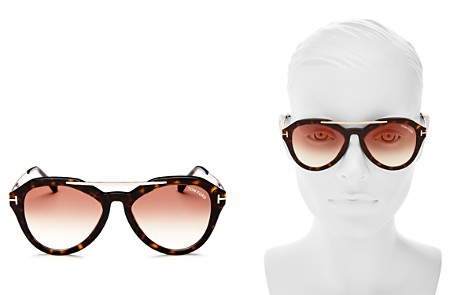 Tom Ford Lisa Mirrored Brow Bar Round Sunglasses, 53mm - 100% Exclusive - Bloomingdale's_2