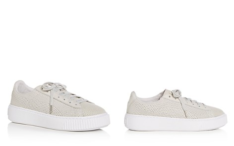 PUMA Women's Basket Perforated Nubuck Leather Lace Up Platform Sneakers - Bloomingdale's_2