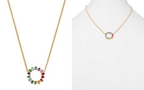 "SheBee 14K Yellow Gold Multicolor Sapphire & Mixed Gemstone Circle Pendant Necklace, 16"" - Bloomingdale's_2"