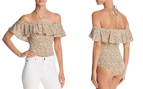 Little Black Bodysuit Ruffled Micro Floral-Print Bodysuit - 100% Exclusive - Bloomingdale's_2