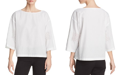 Eileen Fisher Organic Cotton Eyelet-Sleeve Boxy Top - 100% Exclusive - Bloomingdale's_2