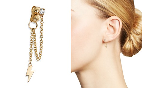 Zoë Chicco 14K Yellow Gold Diamond & Draped Itty Bitty Lightning Bolt Charm Stud Earring - Bloomingdale's_2