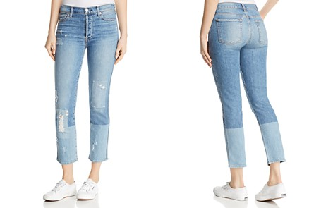 7 For All Mankind Edie Straight Jeans in Laser Denim with Patches - Bloomingdale's_2
