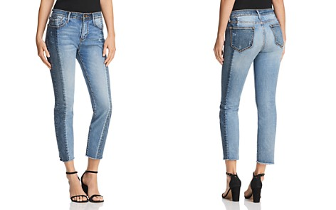 AQUA Cropped Two-Tone Jeans in Double Indigo - 100% Exclusive - Bloomingdale's_2