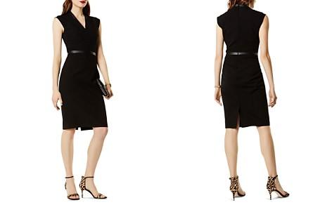 KAREN MILLEN Faux-Leather Trim Sheath Dress - Bloomingdale's_2