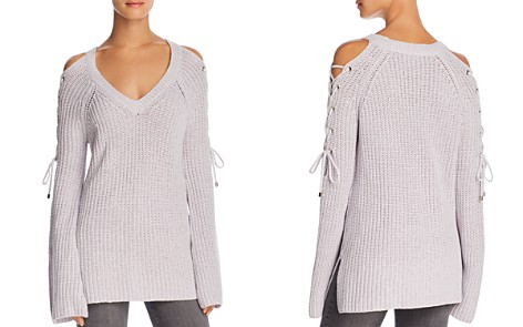 AQUA Lace-Up Cold-Shoulder Sweater - 100% Exclusive - Bloomingdale's_2