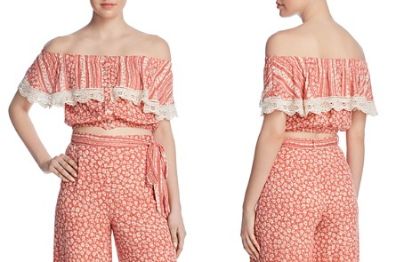 Lost + Wander Suns Out Tiered Off-the-Shoulder Cropped Top - Bloomingdale's_2