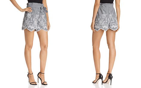 AQUA Embroidered Gingham Paper-Bag Shorts - 100% Exclusive - Bloomingdale's_2