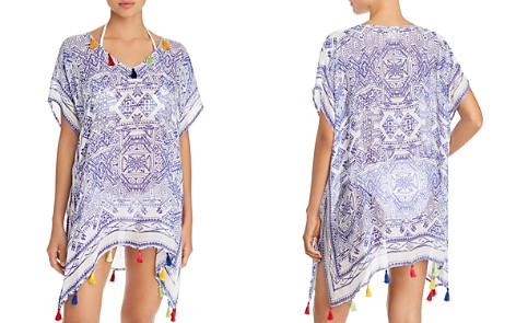 Surf Gypsy Mykonos Print Tassel Detail Tunic Swim Cover-Up - Bloomingdale's_2