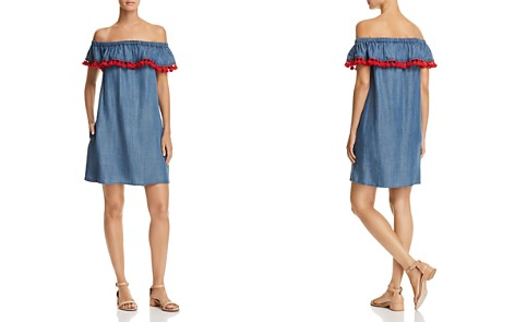 AQUA Tassel Off-the-Shoulder Chambray Dress - 100% Exclusive - Bloomingdale's_2
