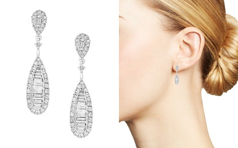 Bloomingdale's Diamond Baguette Teardrop Earrings in 14K White Gold, 0.60 ct. t.w. - 100% Exclusive _2