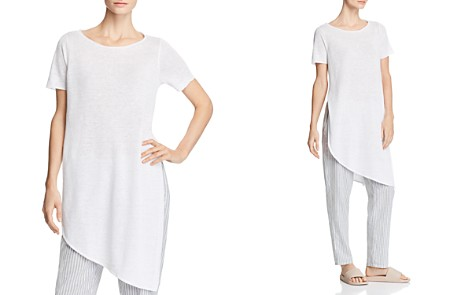 Eileen Fisher Asymmetric Organic Linen Tunic - Bloomingdale's_2