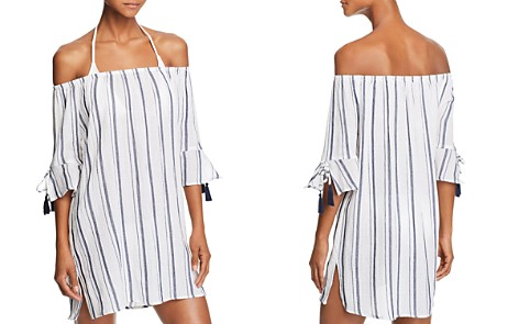 Lucky Brand Stripe Off-the-Shoulder Dress Swim Cover-Up - Bloomingdale's_2