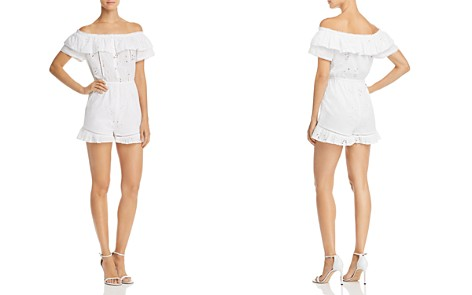 AQUA Eyelet Off-the-Shoulder Romper - 100% Exclusive - Bloomingdale's_2