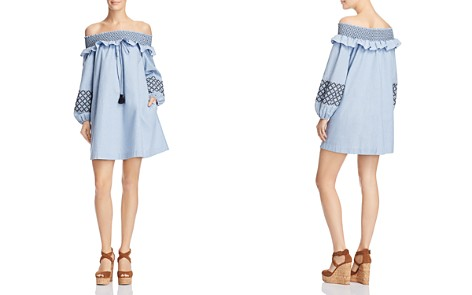 Rebecca Minkoff Goldie Smocked Embroidered Off-the-Shoulder Dress - Bloomingdale's_2