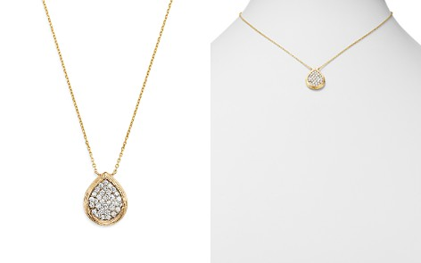 Bloomingdale's Pavé Diamond Teardrop Pendant Necklace in Textured 14K Yellow Gold, 0.50 ct. t.w. - 100% Exclusive _2