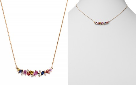 Bloomingdale's Multicolor Sapphire & Diamond Cluster Curve Pendant Necklace in 14K Rose Gold - 100% Exclusive_2