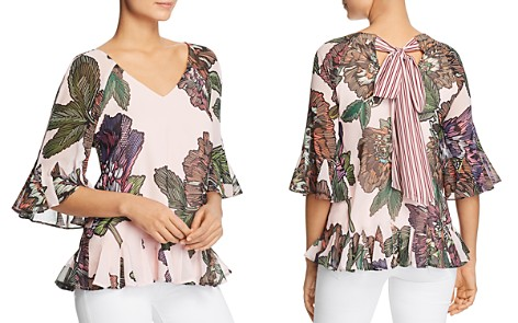 Badgley Mischka Floral Tie-Back Flutter Top - Bloomingdale's_2