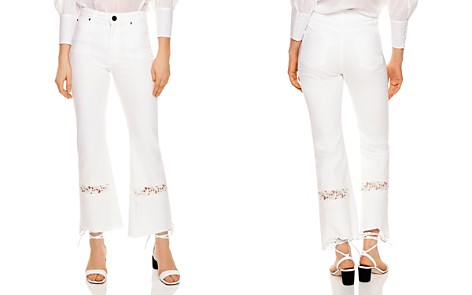 Sandro Telia Appliquéd Cropped Flared Jeans in White - Bloomingdale's_2