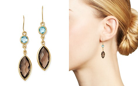 Bloomingdale's Smoky Quartz & Blue Topaz Drop Earrings in 14K Yellow Gold - 100% Exclusive _2