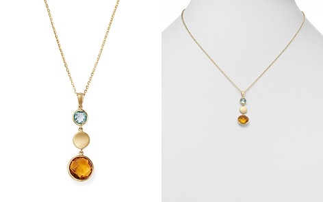 """Bloomingdale's Citrine & Blue Topaz Round Pendant Necklace in 14K Yellow Gold, 18"""" - 100% Exclusive_2"""