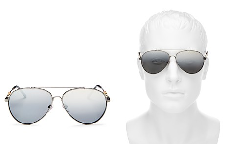 Burberry Men's Low Base Polarized Brow Bar Aviator Sunglasses, 57mm - Bloomingdale's_2
