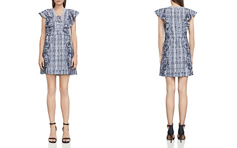 BCBGMAXAZRIA Caralyne Lace-Up Eyelet Dress - Bloomingdale's_2