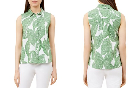HOBBS LONDON Clara Leaf Print Linen Top - Bloomingdale's_2