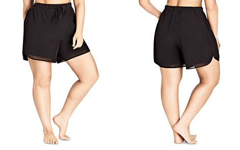 City Chic Plus Mesh-Inset Drawstring Shorts - Bloomingdale's_2