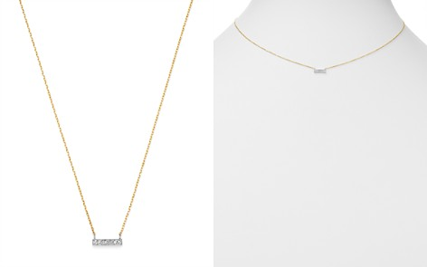 Moon & Meadow Diamond Bar Pendant Necklace in 14K White & Yellow Gold, 0.02 ct. t.w. - 100% Exclusive - Bloomingdale's_2