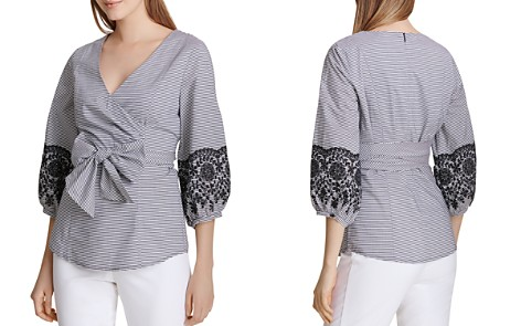 Calvin Klein Embroidered Faux-Wrap Top - Bloomingdale's_2