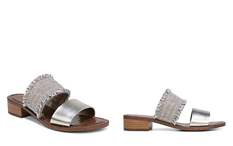 Sam Edelman Women's Jeni Metallic Leather & Fringe Slide Sandals - Bloomingdale's_2