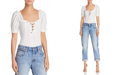 For Love & Lemons Anabella Lace-Up Top - Bloomingdale's_2