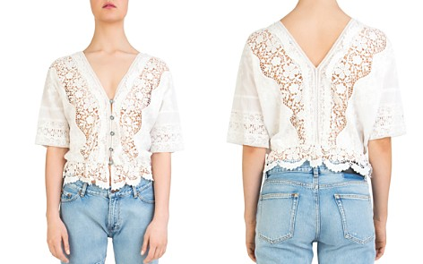 The Kooples Sheer Lace-Inset Cotton Top - Bloomingdale's_2